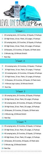 Level One Exercise Plan!