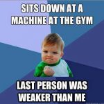 Sits Down At A Machine At The Gym…